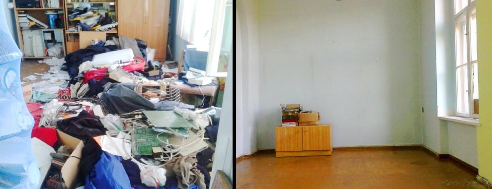 Wywóz śmieci sprzątanie mieszkania przed i po